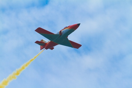 supersonic: MALAGA, SPAIN-MAY 28: Aircraft of the Patrulla Aguila taking part in an exhibition on the day of the spanish army forces on May 28, 2011, in Malaga, Spain