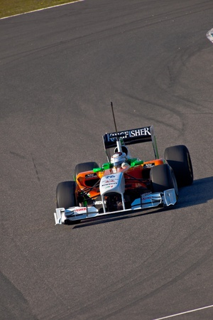 JEREZ DE LA FRONTERA, SPAIN - FEB 11: Adrian Sutil of Force India F1 races on training session on February 11 , 2011, in Jerez de la Frontera , Spain