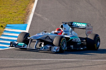 michael schumacher: JEREZ DE LA FRONTERA, SPAIN - FEB 11: Michael Schumacher of Mercedes F1 takes a curve on training session on February 11 , 2011, in Jerez de la Frontera , Spain