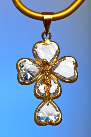 Pendant of a crucifix with five zirconia enchased Stock Photo - 10638459
