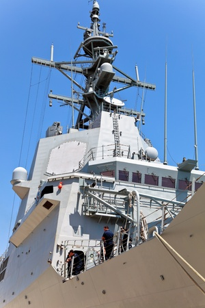 bazan: MALAGA, SPAIN-MAY 28: Detail of the Frigate F-101 Alvaro de Bazan docked in the dock of Malaga on the spanish army forces day on May 28, 2011, in Malaga, Spain
