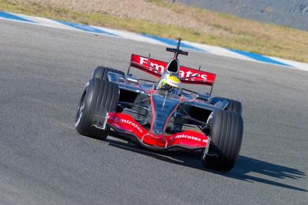 JEREZ DE LA FRONTERA, SPAIN - OCT 11: Lewis Hamilton of McLaren F1 races in training session on October 11, 2006, in Jerez de la Frontera, Spain