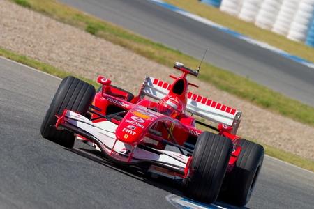 JEREZ DE LA FRONTERA, SPAIN - OCT 11: Michael Schumacher of Scuderia Ferrari F1 races on training session on October 11 , 2006 in Jerez de la Frontera , Spain