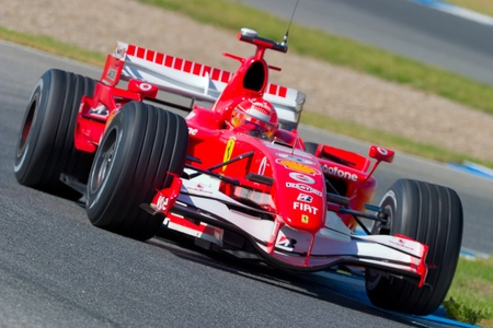 motor race: JEREZ DE LA FRONTERA, Spanje - 11 okt: Michael Schumacher van Scuderia Ferrari F1 races op trainingssessie op 11 oktober 2006 in Jerez de la Frontera, Spanje Redactioneel