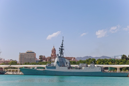 bazan: MALAGA, SPAIN-MAY 28: Frigate F-101 Alvaro de Bazan docked in the dock of Malaga on the spanish army forces day on May 28, 2011, in Malaga, Spain