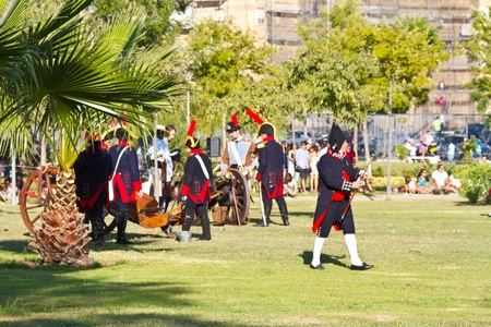 isla de leon: SAN FERNANDO, SPAIN - SEP 24: Actors taking part in the historical military reenacting of the oath of the Spanish constitution of 1812 on Sep 24, 2011 in San Fernando, Spain