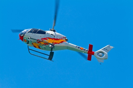 CADIZ, SPAIN-SEP 11: Helicopters of the Patrulla Aspa taking part in an exhibition on the 4th airshow of Cadiz on Sep 11, 2011, in Cadiz, Spain Stock Photo - 10912190