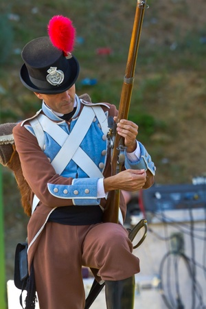 isla de leon: SAN FERNANDO, SPAIN - SEP 24: Actor taking part in the historical military reenacting of the oath of the Spanish constitution of 1812 on Sep 24, 2011 in San Fernando, Spain Editorial