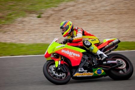 gomez: JEREZ DE LA FRONTERA, SPAIN - NOV 20: Stock Extreme motorcyclist Jose Gomez takes a curve in the CEV championship on Nov 20, 2010, in Jerez de la Frontera, Spain