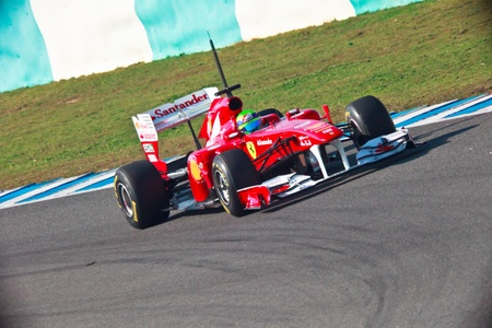 prix: JEREZ DE LA FRONTERA, SPAIN - FEB 10: Felipe Massa of Ferrari F1 races on training session on February 10 , 2011, in Jerez de la Frontera , Spain