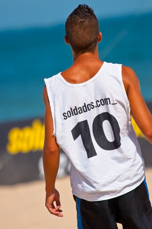 CADIZ, SPAIN -  JUL 22:  Unknown player of unknown team playing the Spanish Championship of Beach Soccer on Jul 22, 2006 on the beach of La Victoria in Cadiz, Spain