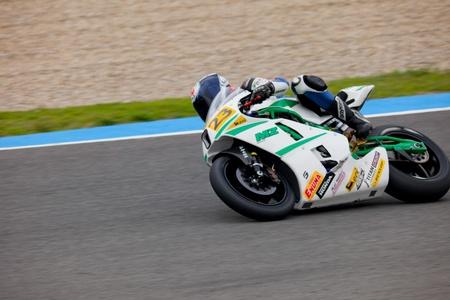 moto gp: JEREZ DE LA FRONTERA, SPAIN - NOV 20: MOTO2 motorcyclist Toni Wirsing takes a curve in the CEV championship on Nov 20, 2010, in Jerez de la Frontera, Spain Editorial