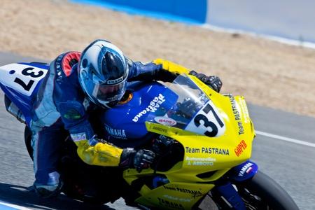 cev: JEREZ DE LA FRONTERA, SPAIN - APR 17: Stock Extreme motorcyclist Jorge Arroyo takes a curve in the CEV Championship race on April 17, 2011 in Jerez de la Frontera, Spain