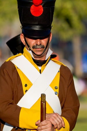 SAN FERNANDO, SPAIN - SEP 24: Actor taking part in the historical military reenacting of the oath of the Spanish constitution of 1812 on Sep 24, 2011 in San Fernando, Spain Stock Photo - 11117526