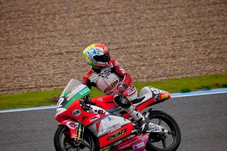 circuit brake: JEREZ DE LA FRONTERA, SPAIN - NOV 20: 125cc motorcyclist Toshimitsu Gondo races in the CEV championship on Nov 20, 2010, in Jerez de la Frontera, Spain