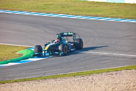 jarno: JEREZ DE LA FRONTERA, SPAIN - FEB 10: Jarno Trulli of Team Lotus F1 races on training session on February 10 , 2011, in Jerez de la Frontera , Spain