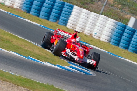 michael schumacher: JEREZ DE LA FRONTERA, SPAIN - OCT 11: Michael Schumacher of Scuderia Ferrari F1 races on training session on October 11 , 2006 in Jerez de la Frontera , Spain Editorial