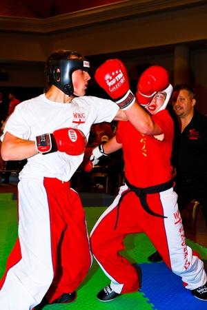 CHICLANA DE LA FRONTERA, SPAIN-NOV 05: Unidentified players compete in the 3rd World Karate and Kickboxing Council championship  on Nov 05, 2011, in Chiclana de la Frontera,  Spain