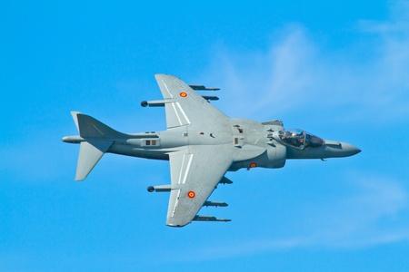CADIZ, SPAIN-SEP 9: Aircraft AV-8B Harrier Plus taking part in a test on the 4th airshow of Cadiz on Sep 9, 2011, in Cadiz, Spain