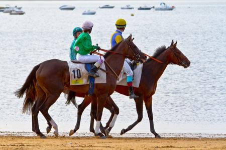 SANLUCAR DE BARRAMEDA, CADIZ, SPAIN - AUGUST 11: Unidentified riders at the start of race horses on Sanlucar de Barrameda beach on August 11, 2011 in Sanlucar de Barrameda, Cadiz, Spain.