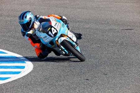 shankar: JEREZ DE LA FRONTERA, SPAIN - APR 16: 125cc motorcyclist Shankar Sarath Kumar takes a curve in the CEV Championship race on April 16, 2011 in Jerez de la Frontera, Spain. Editorial