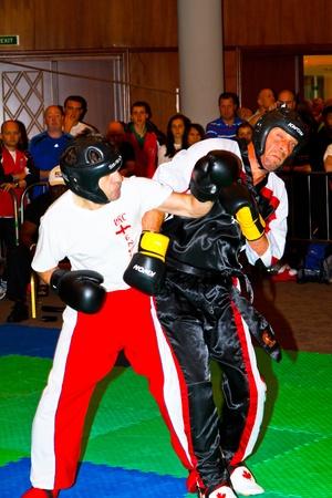 CHICLANA DE LA FRONTERA, SPAIN-NOV 05: Unidentified players compete in the 3rd World Karate and Kickboxing Council championship  on Nov 05, 2011, in Chiclana de la Frontera,  Spain Stock Photo - 11240881