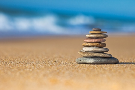 Zen Stones on the beach Stock Photo