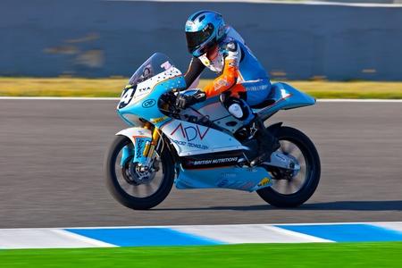 shankar: JEREZ DE LA FRONTERA, SPAIN - APR 16: 125cc motorcyclist Shankar Sarath Kumar races in the CEV Championship race on April 16, 2011 in Jerez de la Frontera, Spain.