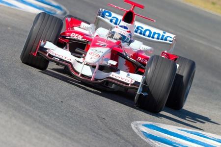 JEREZ DE LA FRONTERA, SPAIN - OCT 11: Olivier Panis of Toyota F1 races on a training session on October 11 , 2006 in Jerez de la Frontera , Spain