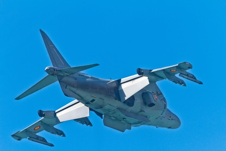 CADIZ, SPAIN-SEP 11: Aircraft AV-8B Harrier Plus taking part in an exhibition on the 4th airshow of Cadiz on Sep 11, 2011, in Cadiz, Spain