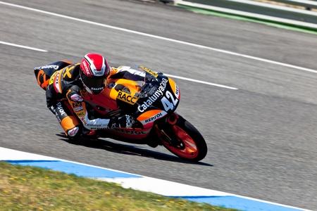 cev: JEREZ DE LA FRONTERA, SPAIN - APR 17: 125cc motorcyclist Alex Rins takes a curve in the CEV Championship race on April 17, 2011 in Jerez de la Frontera, Spain.
