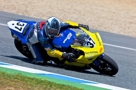 arroyo: JEREZ DE LA FRONTERA, SPAIN - APR 17: Stock Extreme motorcyclist Jorge Arroyo takes a curve in the CEV Championship race on April 17, 2011 in Jerez de la Frontera, Spain