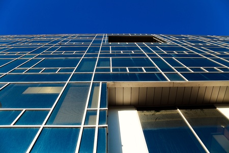 architectural feature: Office building on the basis of large windows and of modern style Stock Photo