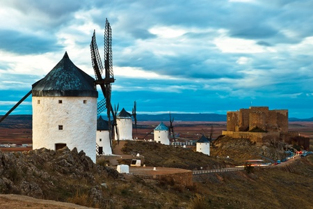 Typical windmills of  Region of Castilla la Mancha photo