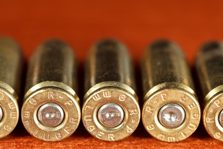 Set of bullets of hand gun photo