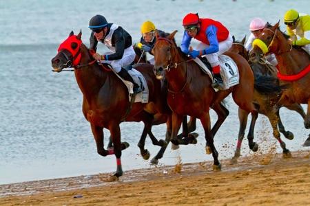 SANLUCAR DE BARRAMEDA, CADIZ, SPAIN - AUGUST 10: Unidentified riders race horses on Sanlucar de Barrameda beach on August 10, 2011 in Sanlucar de Barrameda, Cadiz, Spain.