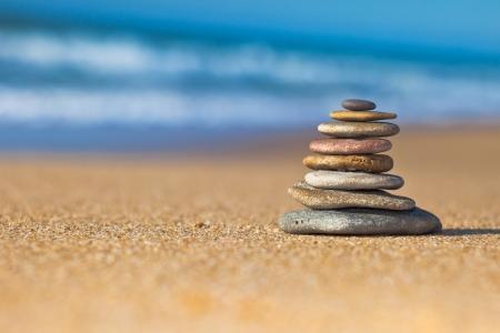 Zen Stones on the beach Archivio Fotografico