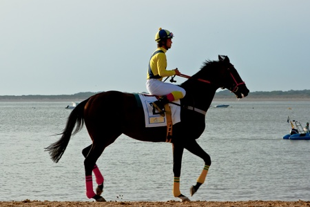 SANLUCAR DE BARRAMEDA, CADIZ, SPAIN - AUGUST 11: Unidentified rider at the start of race horses on Sanlucar de Barrameda beach on August 11, 2011 in Sanlucar de Barrameda, Cadiz, Spain. Stock Photo - 11906798