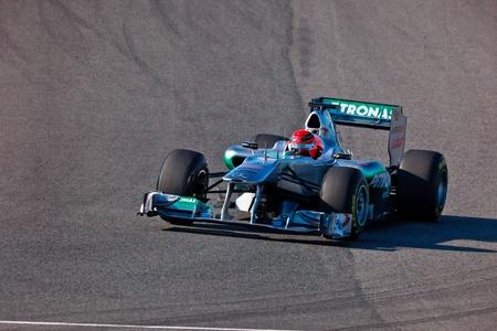 JEREZ DE LA FRONTERA, SPAIN - FEB 11: Michael Schumacher of Mercedes F1 races on training session on February 11 , 2011, in Jerez de la Frontera , Spain