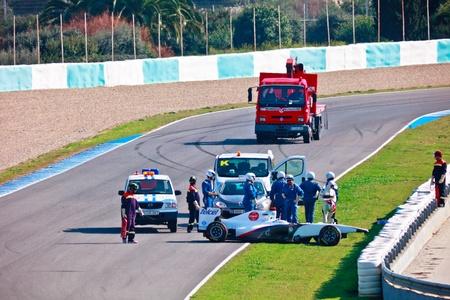 sauber: JEREZ DE LA FRONTERA, SPAIN - FEB 11: Sergio Perez of Sauber F1 suffers an accident on training session on February 11 , 2011, in Jerez de la Frontera , Spain Editorial