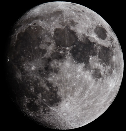 Moon closeup showing the details of the lunar surface. Stockfoto