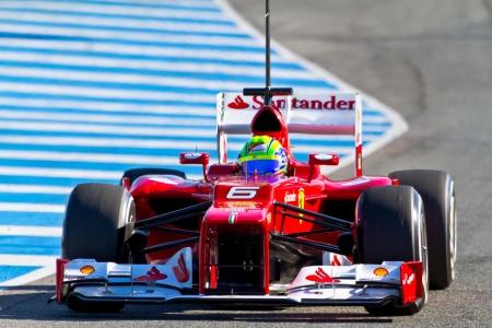 turns of the year: JEREZ DE LA FRONTERA, ESPA�A - 07 de febrero: Felipe Massa de Scuderia Ferrari carreras de F1 en la sesi�n de entrenamiento el 07 de Febrero de 2012, en Jerez de la Frontera, Espa�a