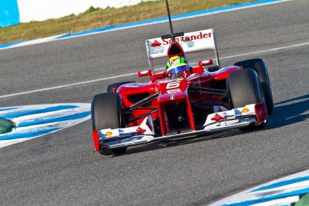 f1: JEREZ DE LA FRONTERA, SPAIN - FEB 07: Felipe Massa of Scuderia Ferrari F1 races on training session on February 07 , 2012, in Jerez de la Frontera , Spain