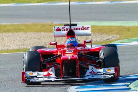 JEREZ DE LA FRONTERA, SPAIN - FEB 09: Fernando Alonso of Scuderia Ferrari F1 races on training session on February 09 , 2012, in Jerez de la Frontera , Spain Stock Photo - 13022477