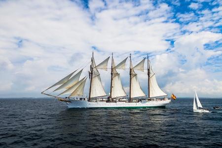 CADIZ, SPAIN - APR 01: Spanish Navy Training Ship, Juan Sebastian de Elcano setting sail on the 83rd cruise of instruction with 69 midshipmen on April 01 , 2012, in Cadiz , Spain Stock Photo - 13111782