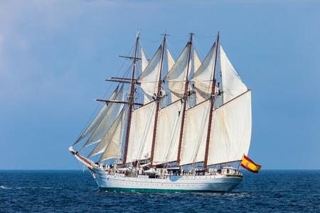 CADIZ, SPAIN - APR 01: Spanish Navy Training Ship, Juan Sebastian de Elcano setting sail on the 83rd cruise of instruction with 69 midshipmen on April 01 , 2012, in Cadiz , Spain Stock Photo - 13111785
