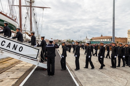83rd: CADIZ, SPAIN - APR 01:  Midshipmen embarking on the Spanish Navy Training Ship, Juan Sebastian de Elcano for the  83rd cruise of instruction on April 01 , 2012, in Cadiz , Spain