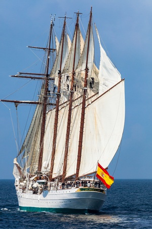 83rd: CADIZ, SPAIN - APR 01: Spanish Navy Training Ship, Juan Sebastian de Elcano setting sail on the 83rd cruise of instruction with 69 midshipmen on April 01 , 2012, in Cadiz , Spain