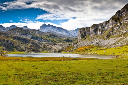 Fantastic lake Ercina, one of the famous lakes of Covadonga, Asturias ,  Spain