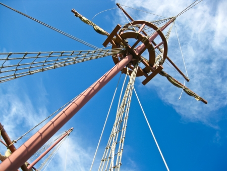 Mainmast of a Spanish galleon, with his scales and sails Stock Photo - 13682007